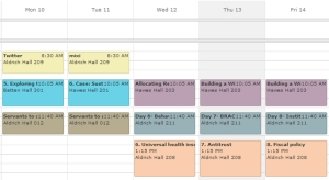 My schedule of this week at HBS...