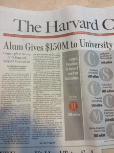 The Harvard Crimson article on the latest alum gift to Harvard College