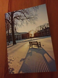 The Christmas card sent by Dean Nohria featured Baker Library
